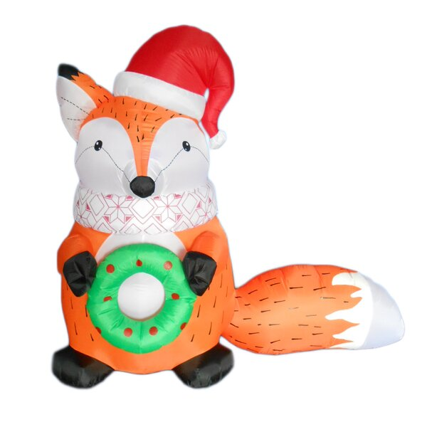 Christmas Inflatable Fox with Christmas Hat and Wreath by The Holiday Aisle