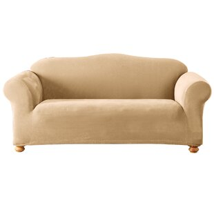 Stretch Pique Box Cushion Sofa Slipcover