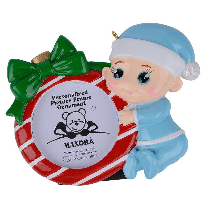 Personalized Photo Frame Baby Christmas Ornament Blue Nayancorporation Com