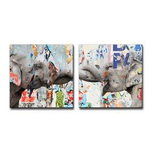 'Saddle Ink Elephant VI' Graphic Art Print on Canvas by Ivy Bronx