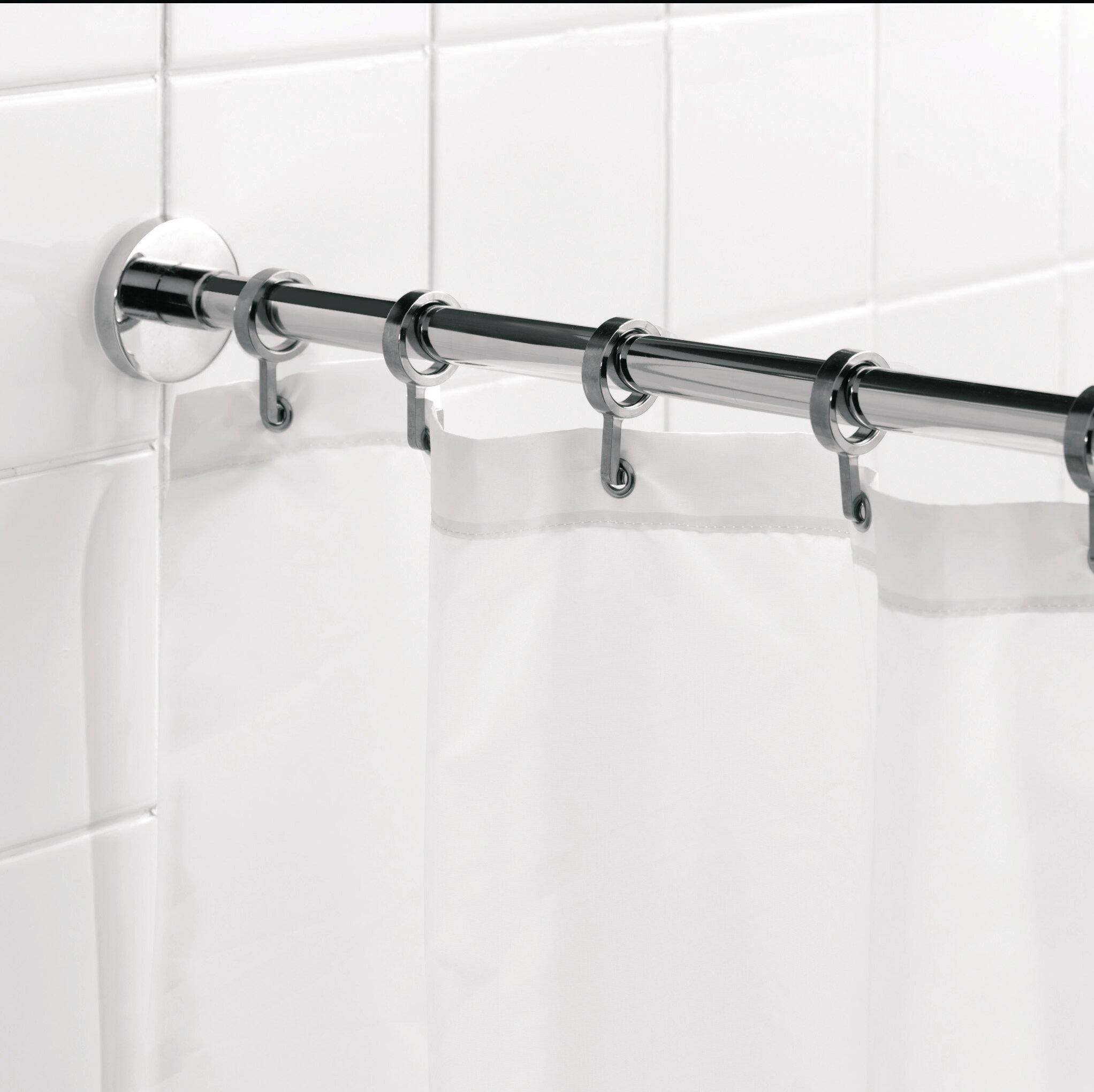 Croydex Luxury 9825 Adjustable Straight Fixed Shower Curtain Rod Hook Set