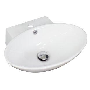 Ceramic Oval Vessel Bathroom Sink with Overflow ByAmerican Imaginations