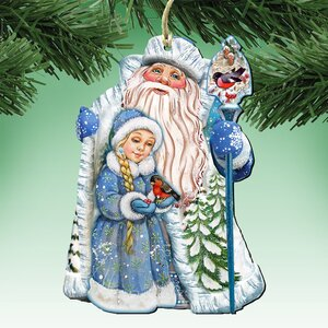 Deco Santa and Girl Hanging Figurine (Set of 3)