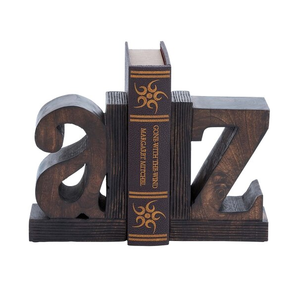Artisan Hand Carved A to Z Wooden Bookends by EC World Imports