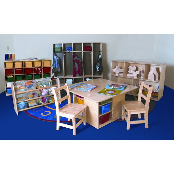 7 Piece Classroom Double Sided 25 Compartment Shelving Unit with Trays by Wood Designs