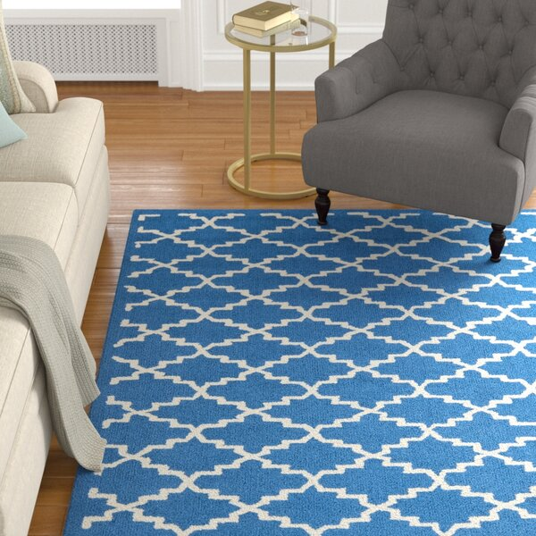 Fullerton Hand-Hooked Cotton Indigo/Ivory Area Rug by Alcott Hill