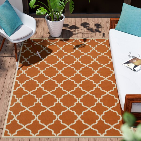 Alford Geometric Orange/Ivory Indoor/Outdoor Area Rug By Andover Mills