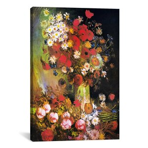 'Vase with Cornflowers and Poppies, Peonies and Chrysanthemums' by Vincent Van Gogh Painting Print on Canvas by iCanvas