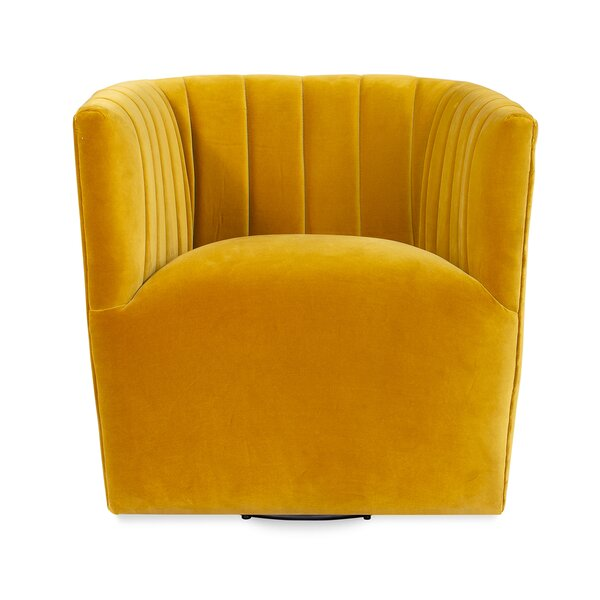 Foust Fabric Swivel Armchair By Everly Quinn