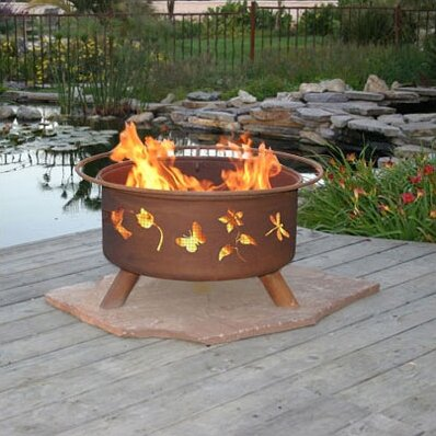Classic Flower and Garden Steel Wood Burning Fire Pit by Patina Products