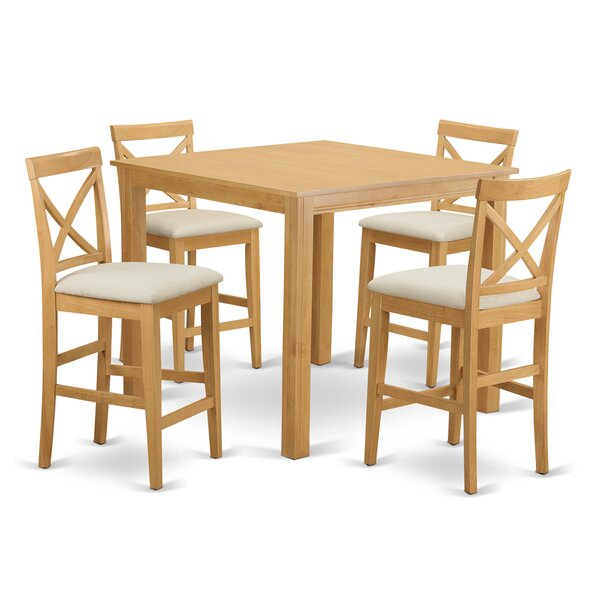 Cafe 5 Piece Counter Height Pub Table Set by East West Furniture