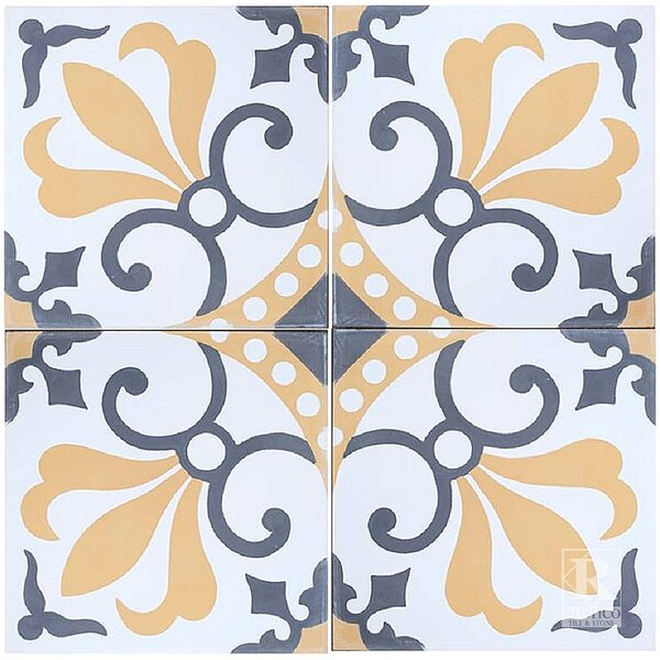 MeaLu 8 x 8 Cement Field Tile in White/Gold (Set of 4) by Rustico Tile & Stone