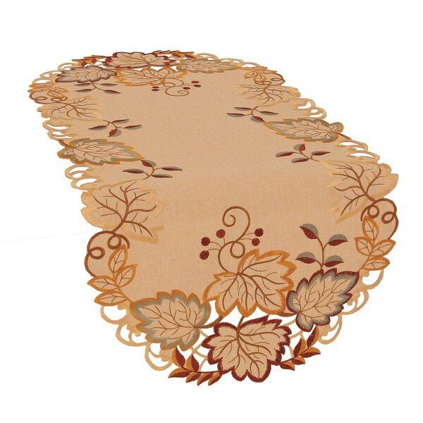 Harvest Verdure Embroidered Cutwork Fall Table Runner by Xia Home Fashions