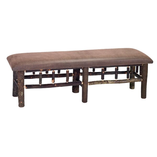 Hickory Leather Fabric Bench by Fireside Lodge