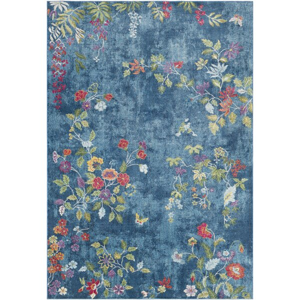Lillo Vibrant Floral Blue Area Rug by Bungalow Rose