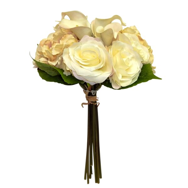 Hydrangea Calla Lily and Rose Mixed Floral Arrangement in Vase by Charlton Home