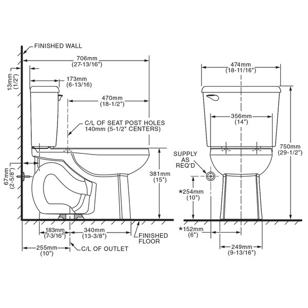 Colony 1.28 GPF Elongated Two-Piece Toilet by American Standard