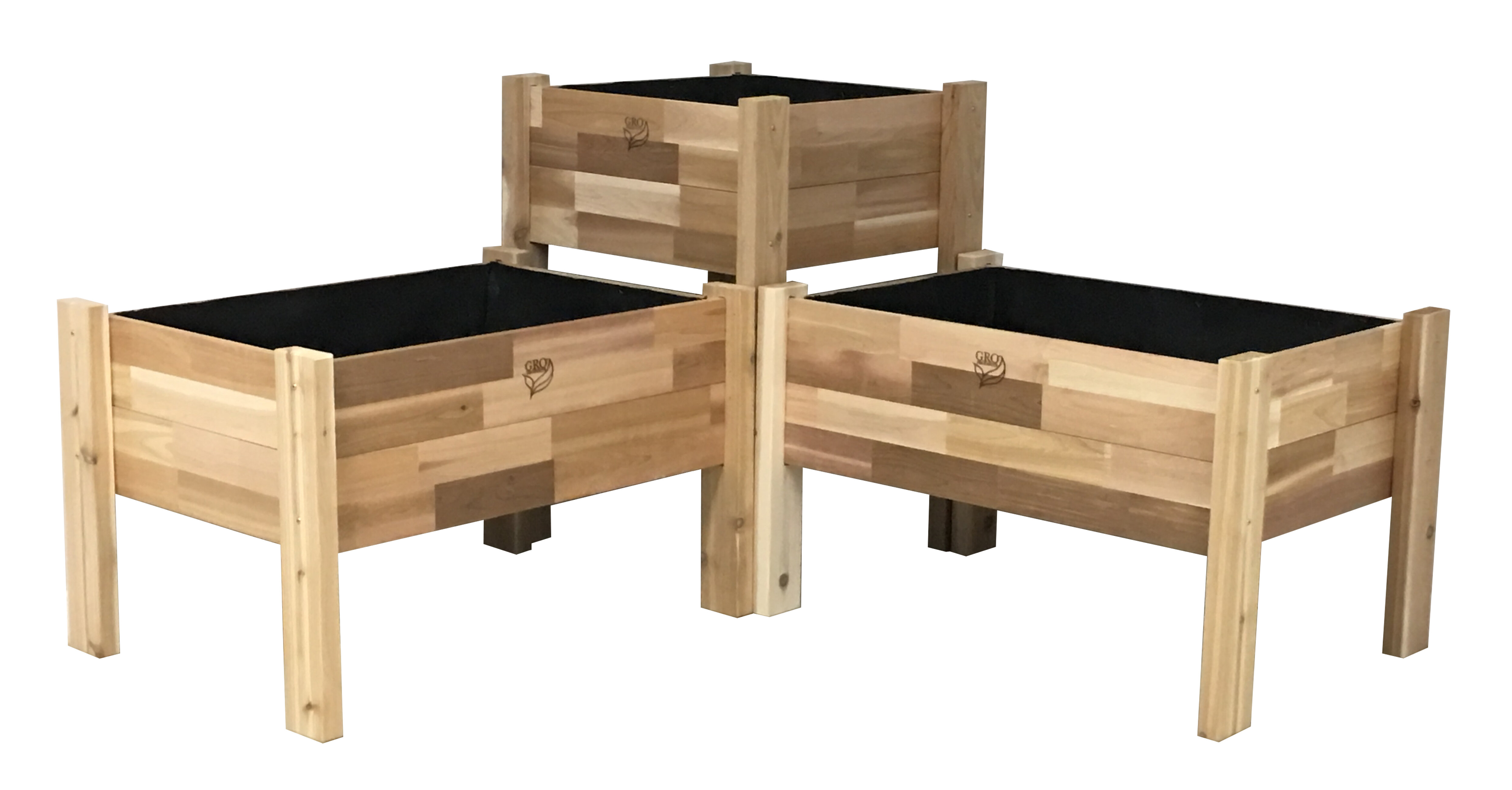 August Grove Enloe Cedar Elevated Garden 3 Piece Planter Box Set