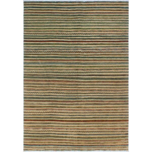 One-of-a-Kind Sempronius High-Low Fine Chobi Nancy Hand-knotted Wool Green/Brown Area Rug by Bungalow Rose