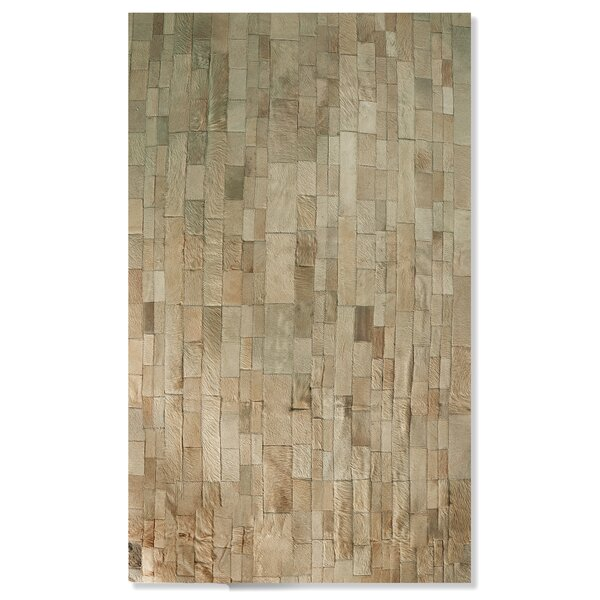 Sarthak Hand-Woven Cowhide Tan Area Rug by 17 Stories