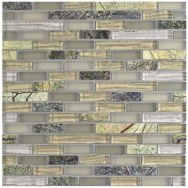 Sierra Random Sized Glass and Natural Stone Mosaic Tile in Gray/Cream by EliteTile
