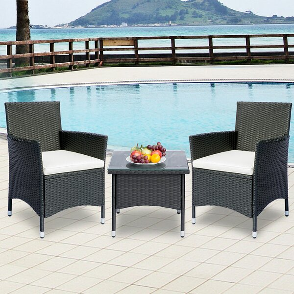 3 Piece Rattan Multiple Chairs Seating Group with Cushions by Cusimax