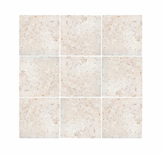 Tumbled 4 x 4 Travertine Field Tile in Ivory by Parvatile