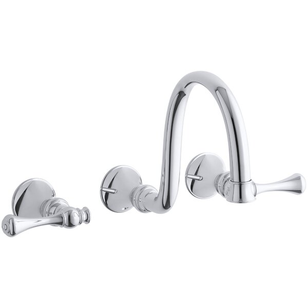 Revival Wall-Mount Bathroom Sink Faucet Trim with Traditional Lever Handles and 9 Spout, Requires Valve by Kohler