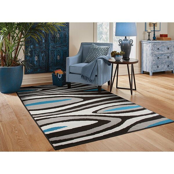 Yablonski Black/Gray Indoor/Outdoor Area Rug by Ebern Designs