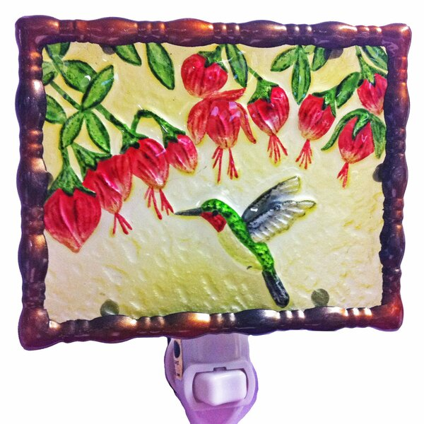 Hummingbird and Fuchsias Night Light by Continental Art Center