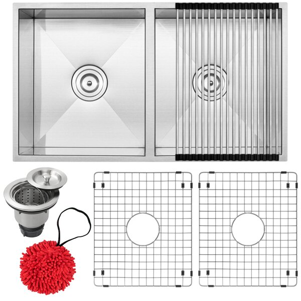 Pacific Series 16-Gauge Stainless Steel 31 L x 18 W Double Basin Undermount Kitchen Sink with Additional Accessories
