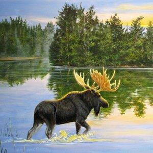 'Lake Moose' Painting Print on Wood by WGI-GALLERY