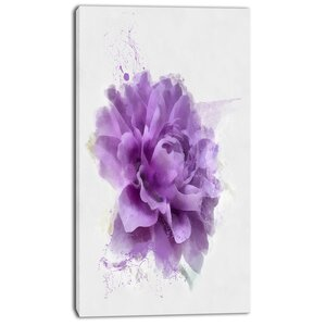 'Purple Rose Watercolor Illustration' Painting Print on Wrapped Canvas by Design Art