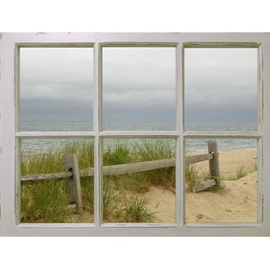 Window View Beach Dunes' Graphic Art on Wrapped Canvas by Graffitee Studios