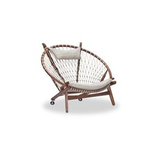 Dianne Mid-Century Modern Hoop Wooden Twill Papasan Chair by Bungalow Rose