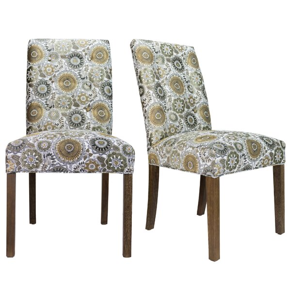 Cassian Sky Dive Cork Upholstered Dining Chair (Set of 2) by Bungalow Rose
