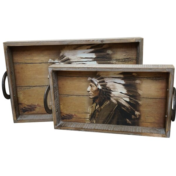 Propes Wood 2 Piece Accent Tray Set by Loon Peak