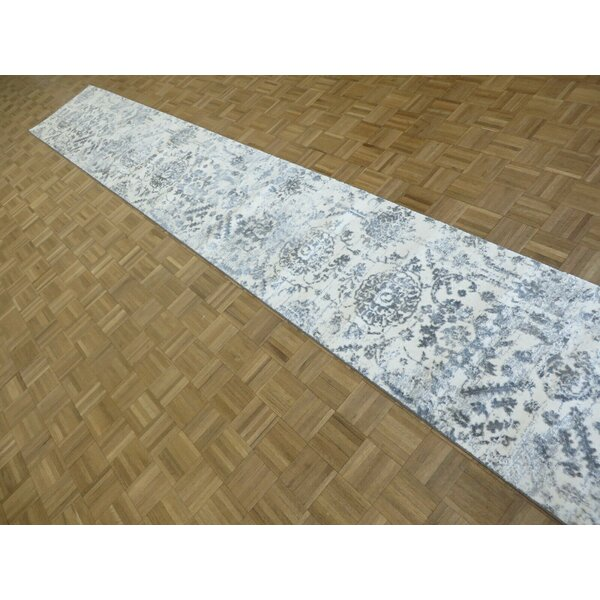Donofrio Broken Erased Modern Hand-Knotted 2'6 x 17'2 Ivory/Gray Area Rug