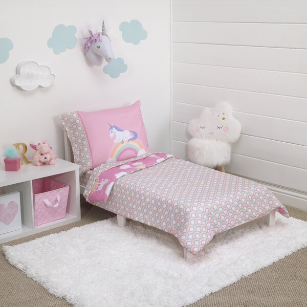 Includes Q 4 Piece Cotton Toddler Bedding Set Gray Unicorn with Stars Printed