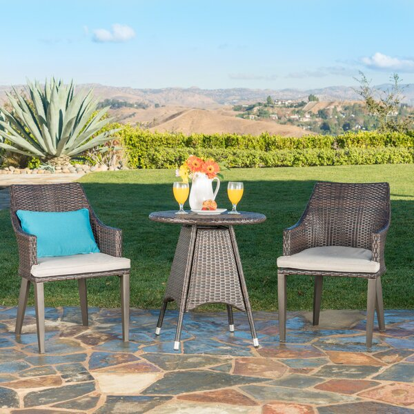 Backlund Outdoor Wicker 3 Piece Bistro Set with Cushions by Ivy Bronx