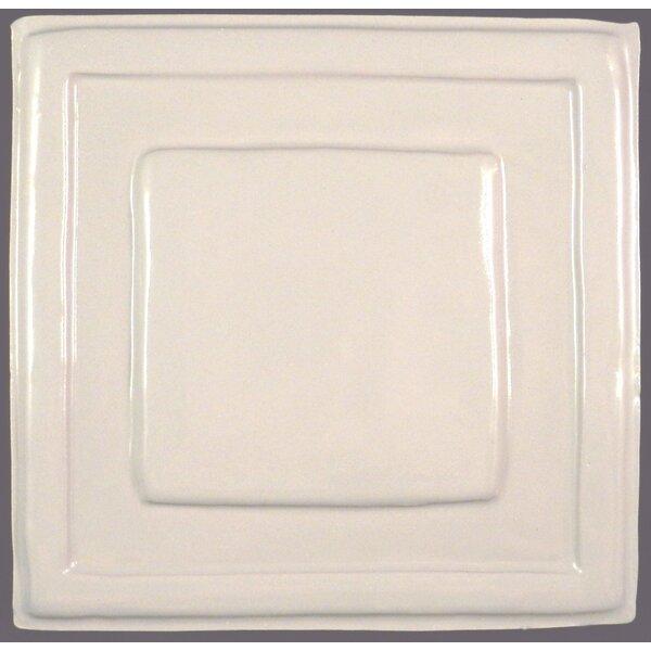 Quadrus 8.5 x 8.5 Ceramic Decorative Accent Tile in White by Clay Decor