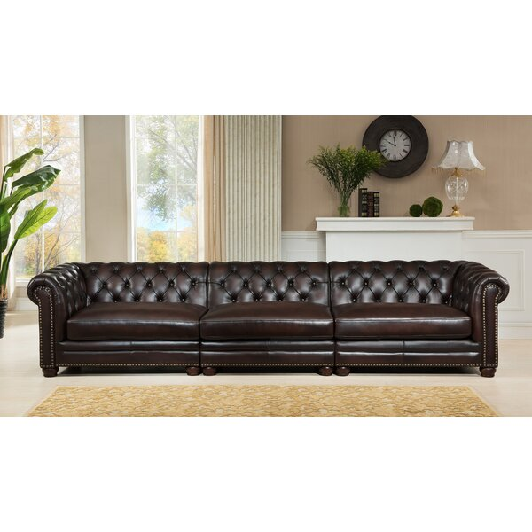 Online Shopping Bargain Lesa Genuine Leather Chesterfield Sofa by Canora Grey by Canora Grey