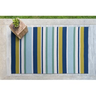 Compare prices Staple Hill Hand-Tufted Stripe Blue Indoor/Outdoor Area Rug By Wrought Studio