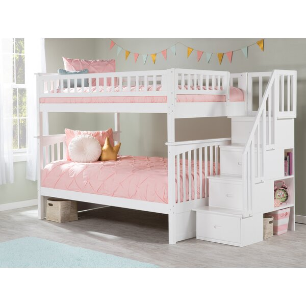 Abel Full Over Full Bunk Bed With Drawers and Shelves by Harriet Bee