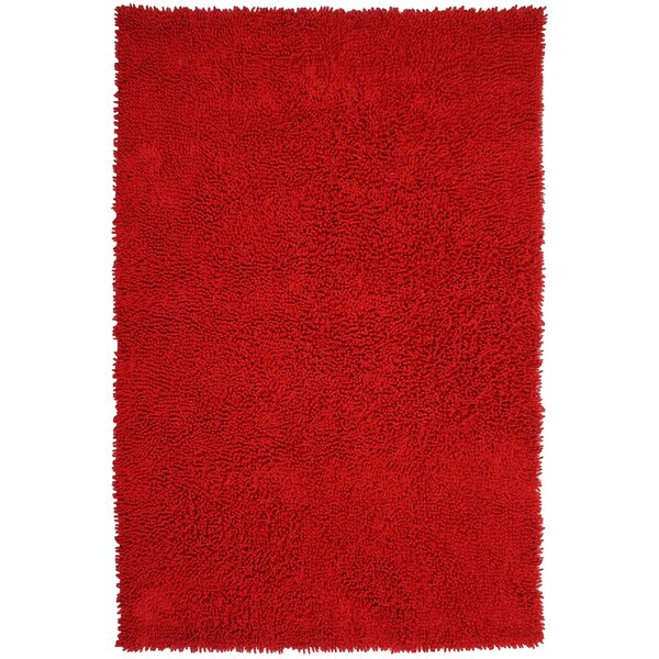 Baugh Shag Chenille Red Area Rug by Ebern Designs