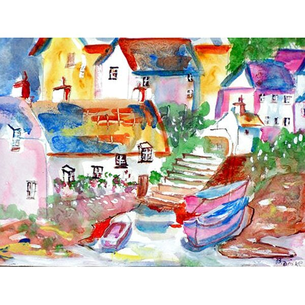 Boats at Steps Placemat (Set of 4) by Betsy Drake Interiors