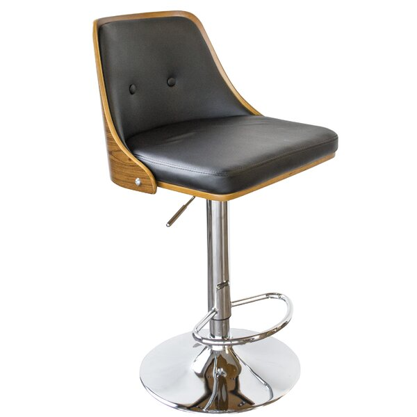 Bent Wood Faux Leather Adjustable Height Swivel Bar Stool by AmeriHome