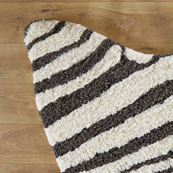 Zebra Stripe Hand-Tufted Faux Cowhide Ivory/Charcoal Area Rug by Birch Lane Kids™