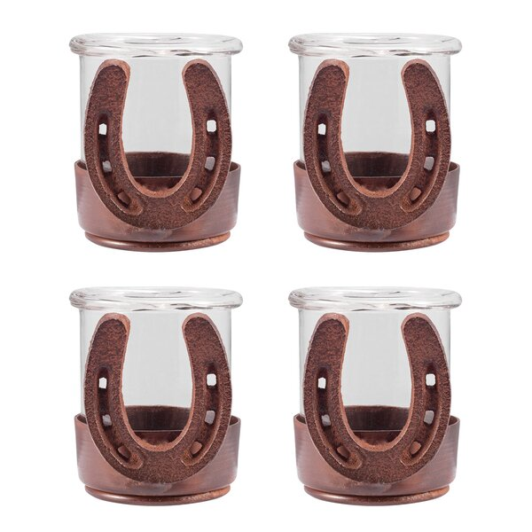 Horse Shoe 4 Piece Glass Votive Set (Set of 4) by Loon Peak