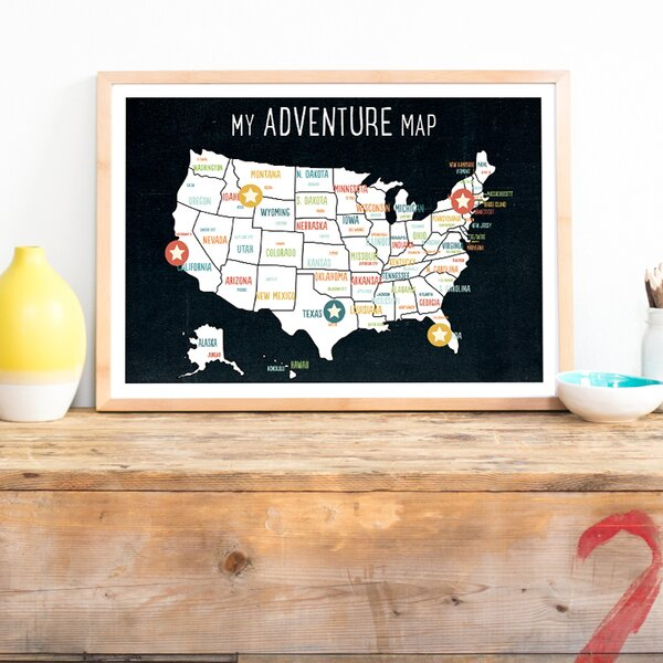 My Adventures USA Map Paper Print by Children Inspire Design